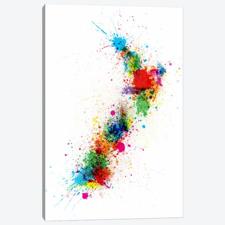 New Zeland Paint Splashes Map Canvas Print #12834} by Michael Tompsett Art Print