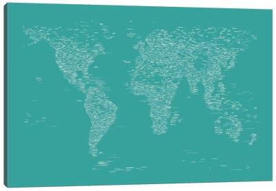 Font World Map (Green) Canvas Print #12835