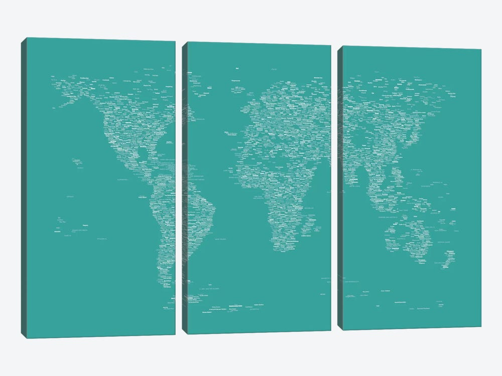 Font World Map (Green) by Michael Tompsett 3-piece Canvas Art Print