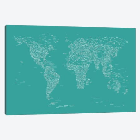 Font World Map (Green) Canvas Print #12835} by Michael Tompsett Canvas Print