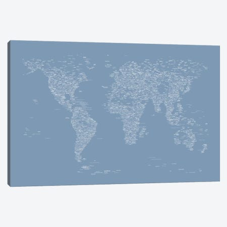 Font World Map (Light Blue) Canvas Print #12837} by Michael Tompsett Art Print