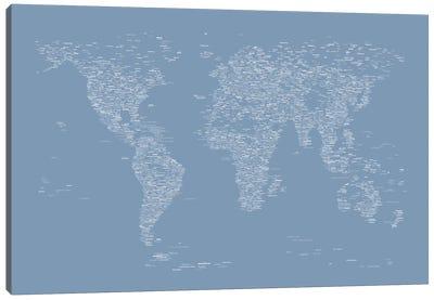 Font World Map (Light Blue) Canvas Print #12837