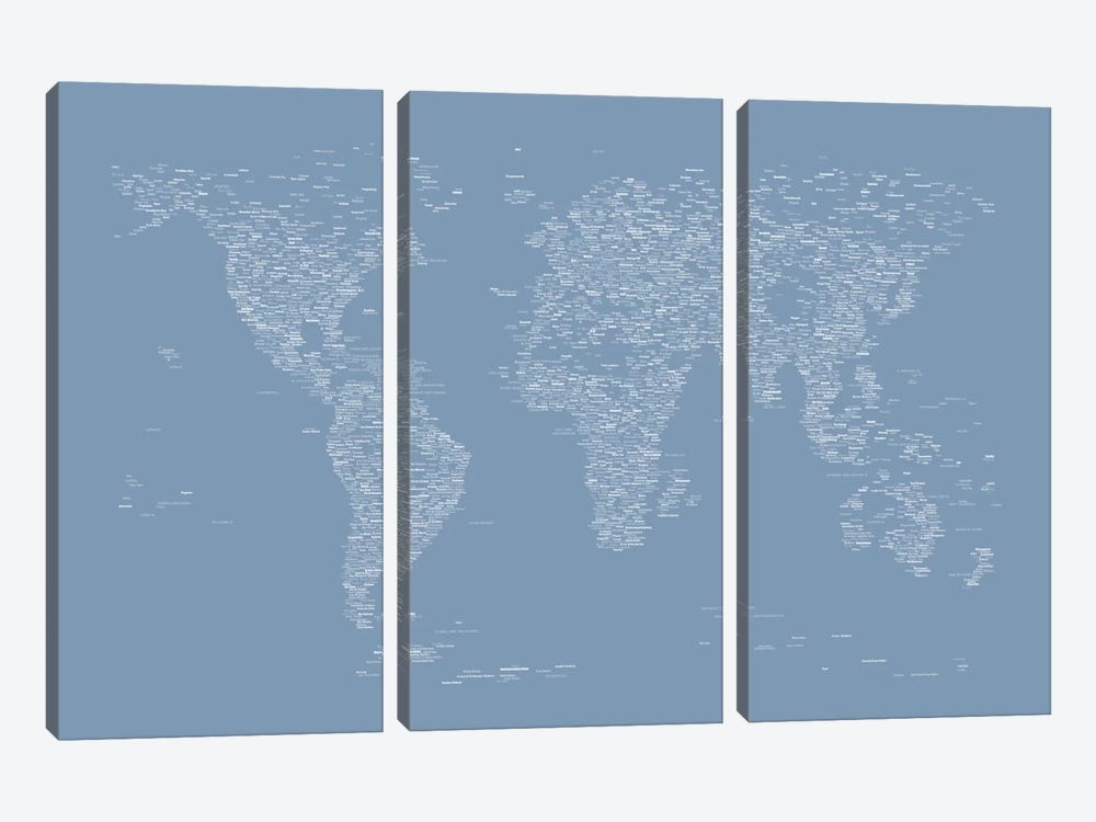 Font World Map (Light Blue) by Michael Tompsett 3-piece Canvas Print