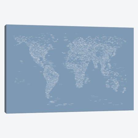 Font World Map (Light Blue) Canvas Print #12837} by Michael Tompsett Art Print