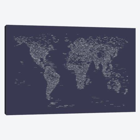 Font World Map (Navy Blue) Canvas Print #12838} by Michael Tompsett Canvas Art