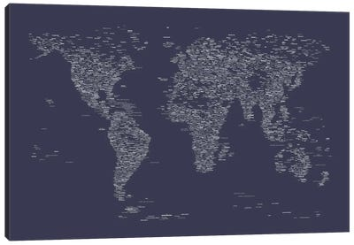 Font World Map (Navy Blue) Canvas Art Print