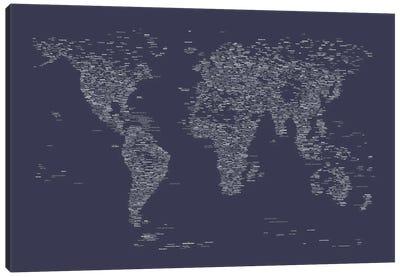 Font World Map (Navy Blue) Canvas Print #12838