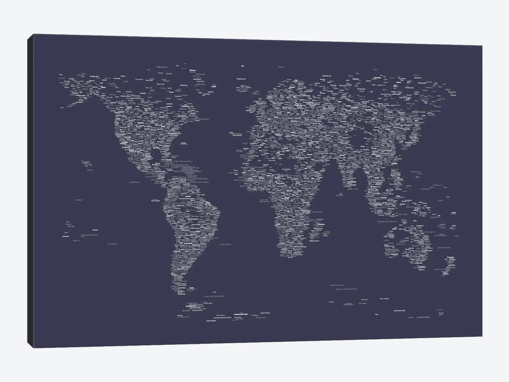 Font world map navy blue art print by michael tompsett icanvas font world map navy blue by michael tompsett 1 piece canvas wall art gumiabroncs Image collections