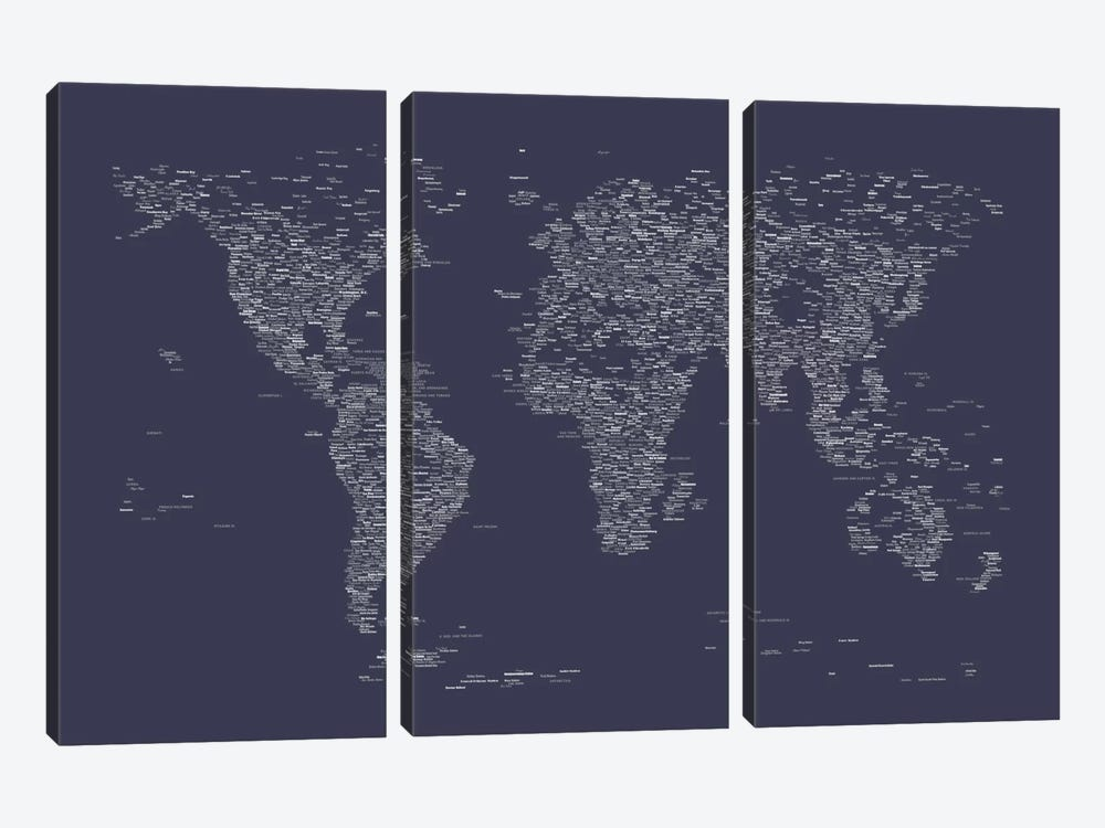 Font World Map (Navy Blue) 3-piece Canvas Artwork