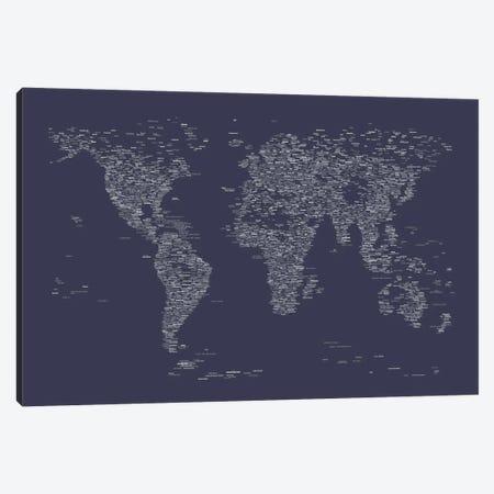 Font World Map (Navy Blue) Canvas Print #12838} by Michael Tompsett Canvas Art
