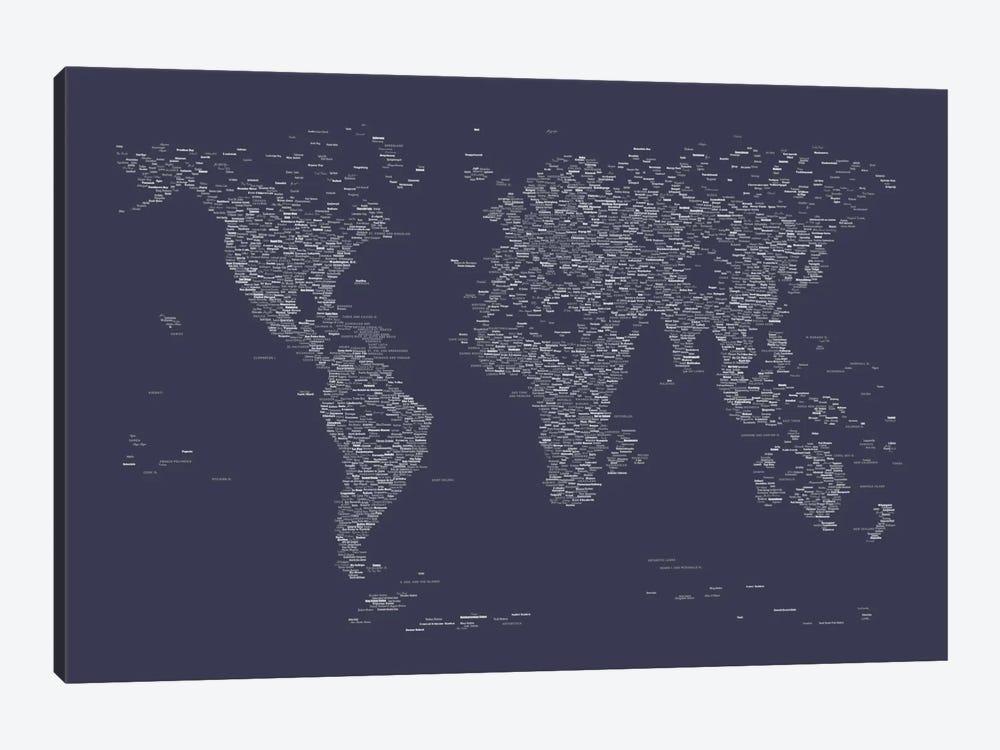 Font World Map (Navy Blue) by Michael Tompsett 1-piece Canvas Wall Art