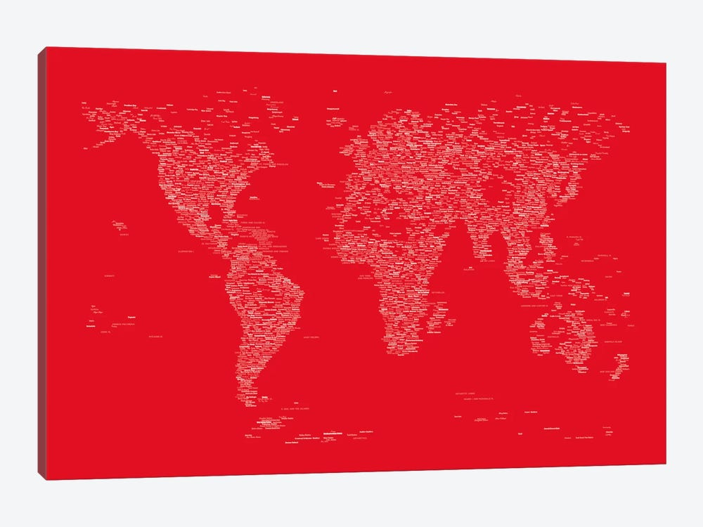 Font World Map (Red) 1-piece Canvas Print