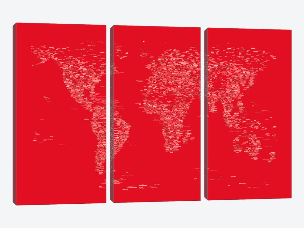 Font World Map (Red) by Michael Tompsett 3-piece Canvas Print