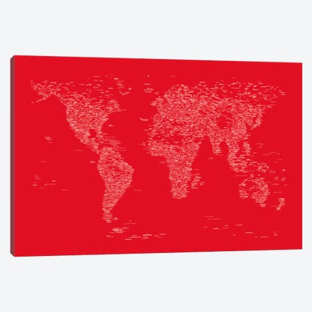 Font World Map (Red) Canvas Print #12839} by Michael Tompsett Canvas Art