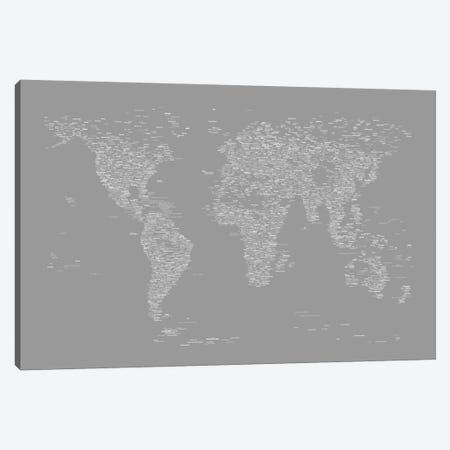 Font World Map (Gray) Canvas Print #12840} by Michael Tompsett Art Print
