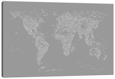 Font World Map (Gray) Canvas Print #12840