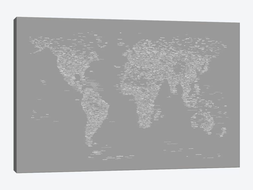 Font World Map (Gray) by Michael Tompsett 1-piece Canvas Art Print