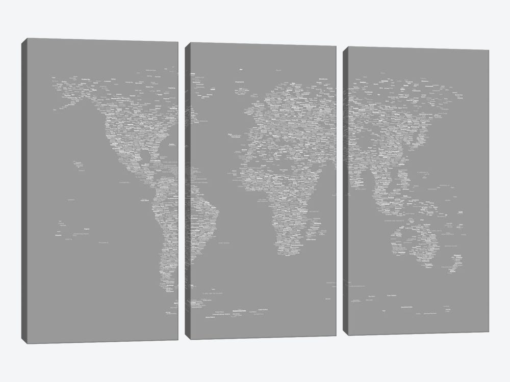 Font World Map (Gray) by Michael Tompsett 3-piece Canvas Art Print