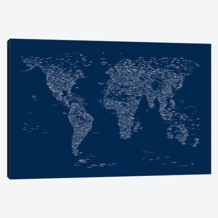 Font World Map (Blue) Canvas Print #12841} by Michael Tompsett Canvas Print