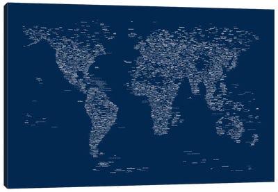 Font World Map (Blue) Canvas Print #12841