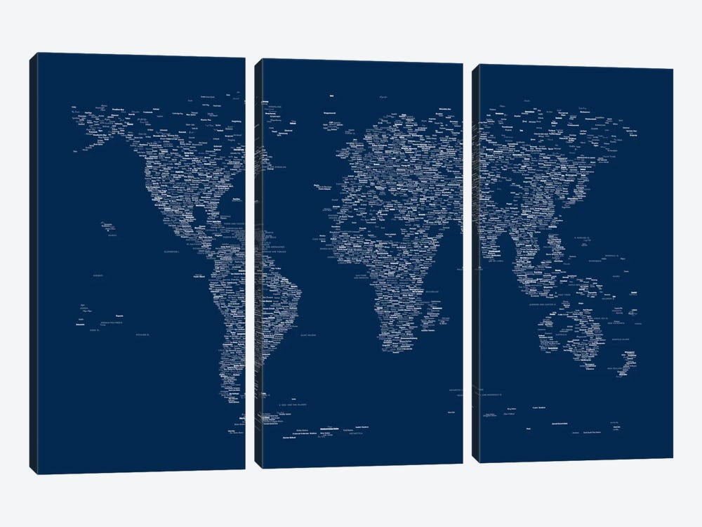 Font World Map (Blue) by Michael Tompsett 3-piece Canvas Artwork