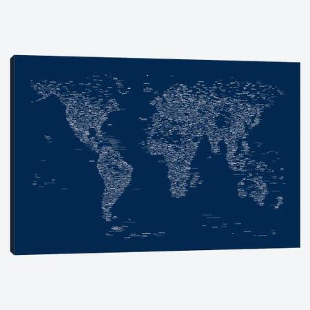 Font World Map (Blue) Canvas Print #12841} by Michael Tompsett Canvas Print