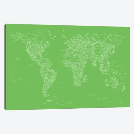 Font World Map (Light Green) Canvas Print #12843} by Michael Tompsett Art Print
