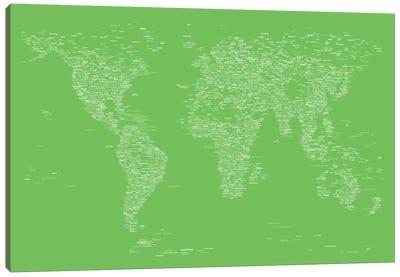 Font World Map (Light Green) Canvas Print #12843