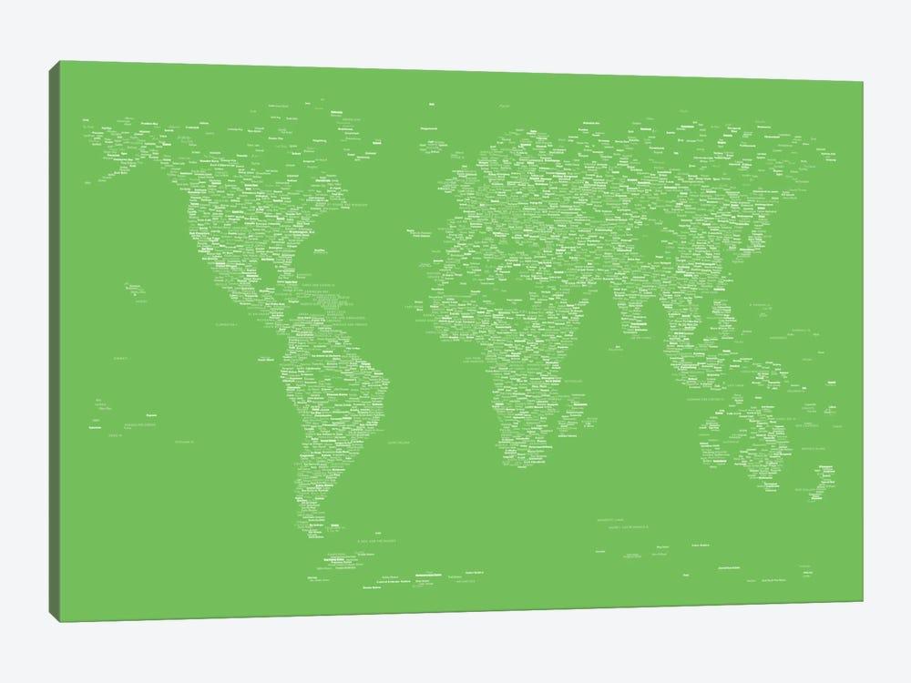 Font World Map (Light Green) by Michael Tompsett 1-piece Canvas Wall Art