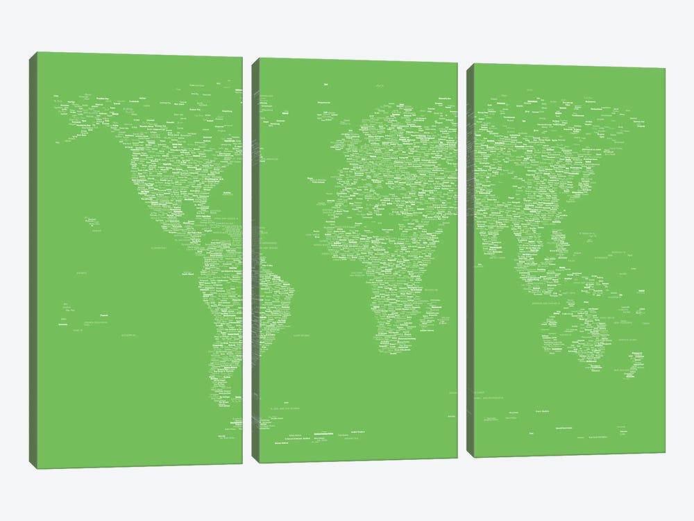 Font World Map (Light Green) by Michael Tompsett 3-piece Canvas Artwork