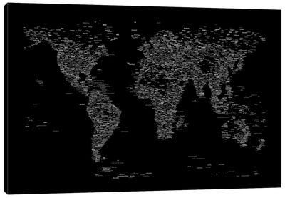 Font World Map (Black) Canvas Art Print