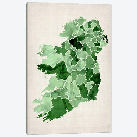 Ireland Watercolor Map Canvas Print #12848} by Michael Tompsett Canvas Print