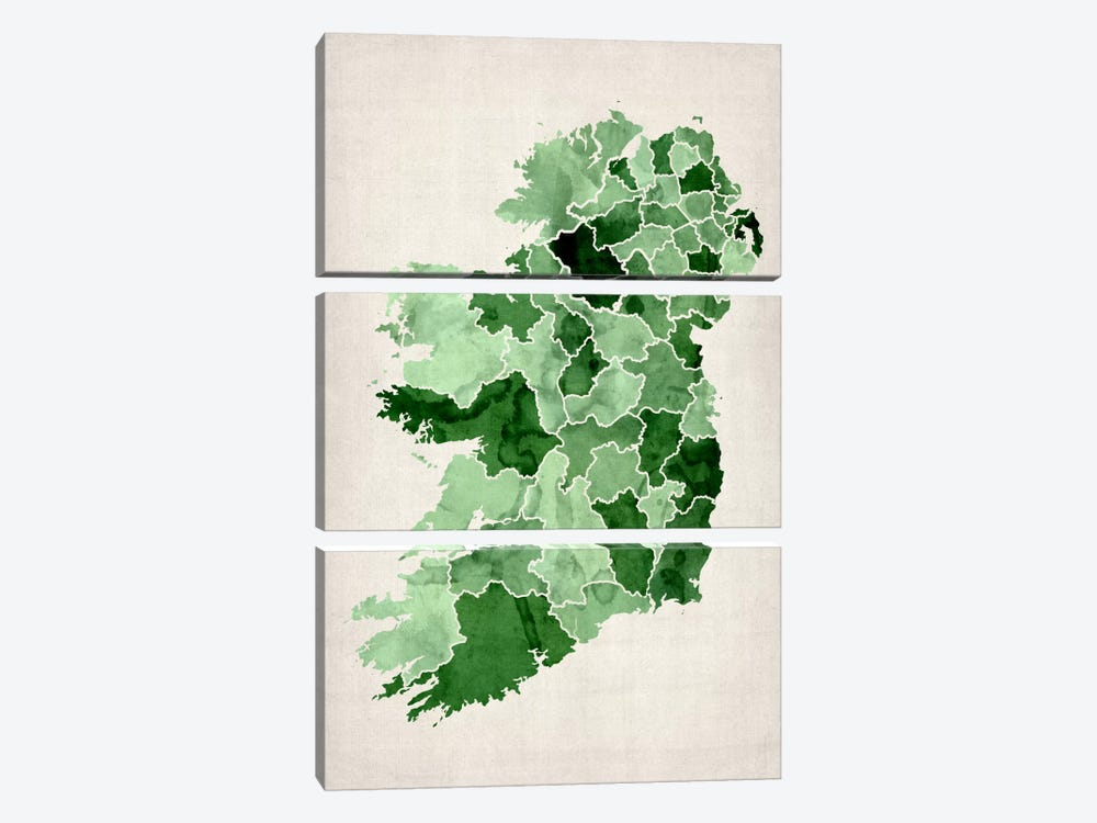 Ireland Watercolor Map by Michael Tompsett 3-piece Canvas Print