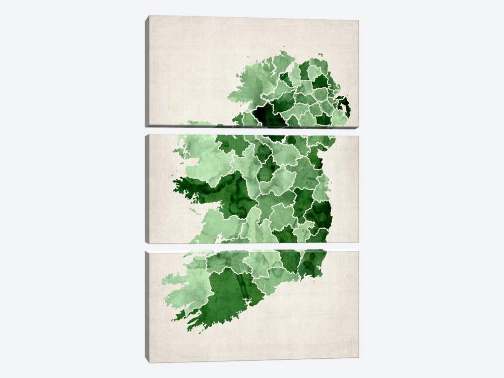 Ireland Watercolor Map by Michael Tompsett 3-piece Canvas Print