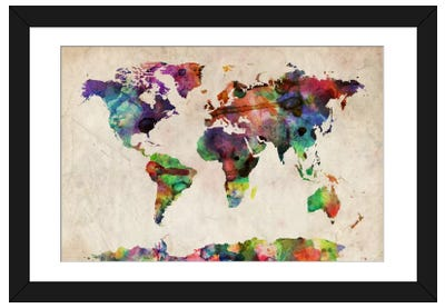 World Map Urba Watercolor II Framed Art Print
