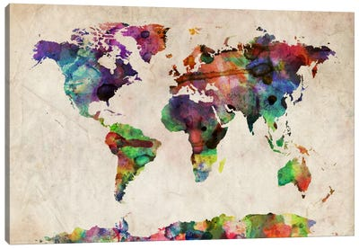World Map Urba Watercolor II Canvas Print #12855