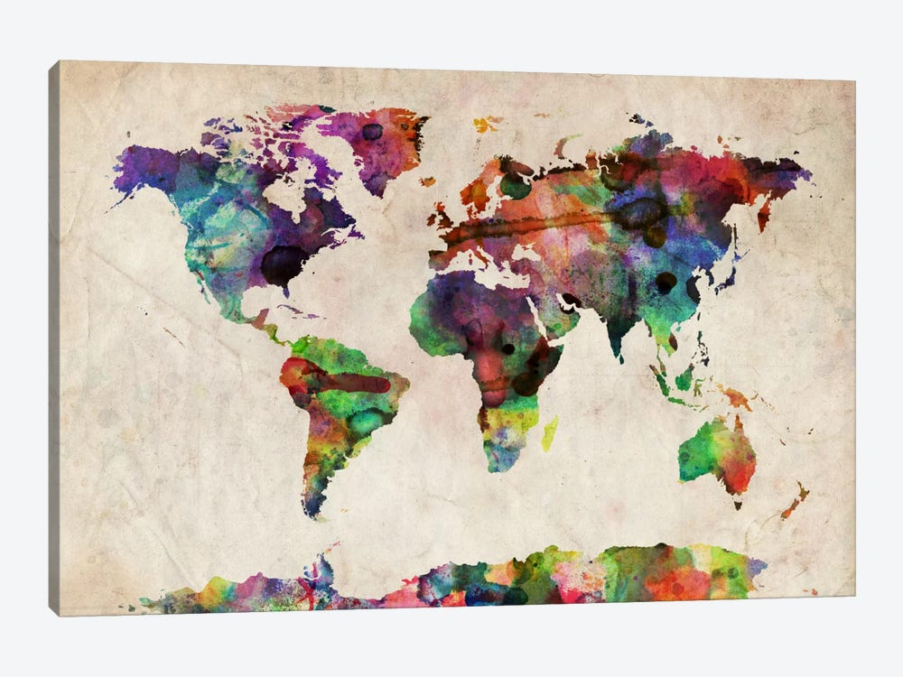 World Map Urba Watercolor II by Michael Tompsett 1-piece Canvas Print