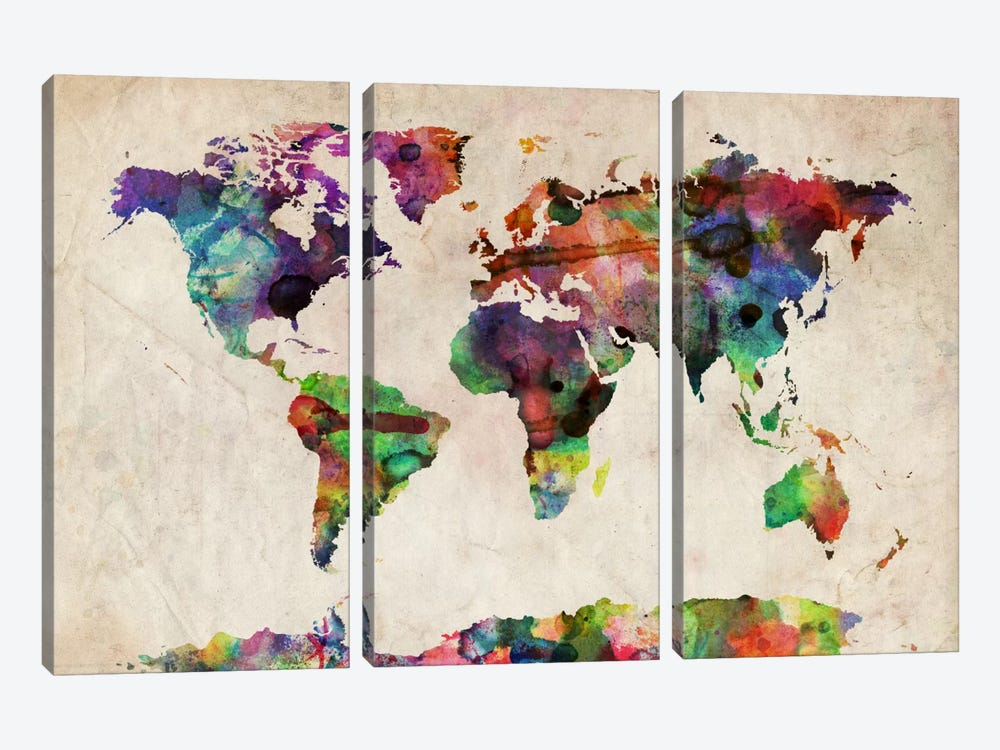 World Map Urba Watercolor II by Michael Tompsett 3-piece Canvas Art Print