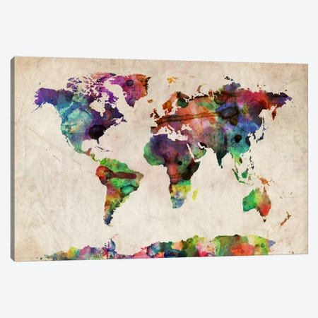 World Map Urba Watercolor II Canvas Print #12855} by Michael Tompsett Canvas Print