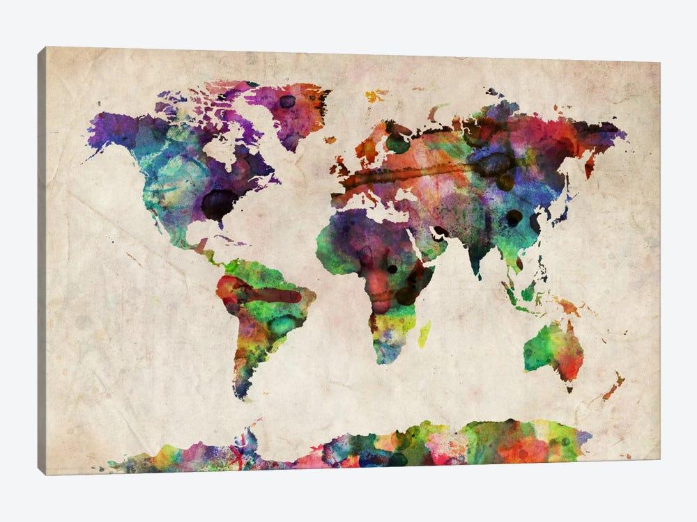 World Map Urba Watercolor II by Michael Tompsett 1-piece Canvas Print