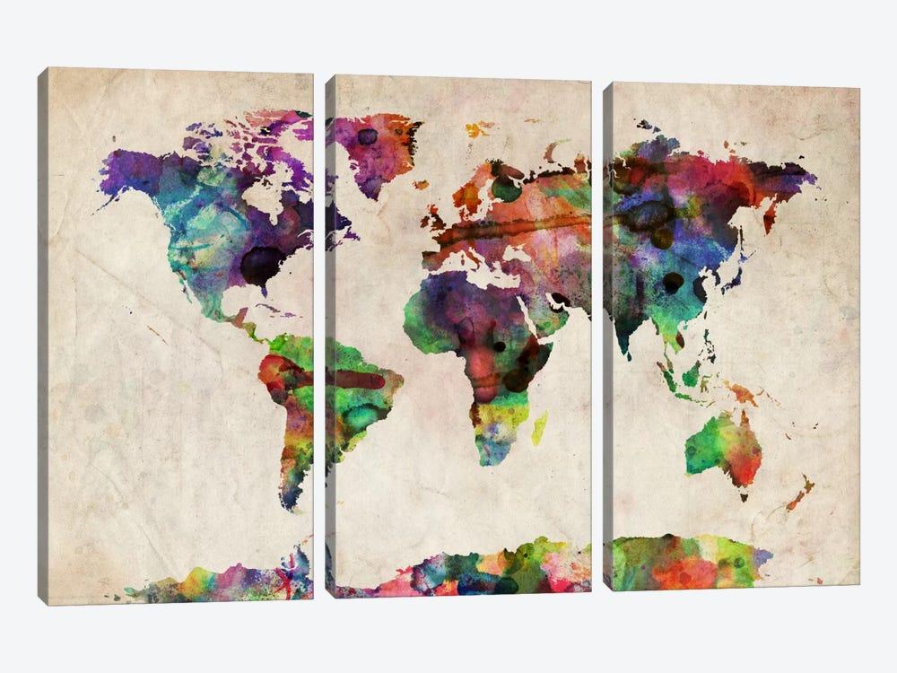 World Map Urba Watercolor II by Michael Tompsett 3-piece Canvas Art Print