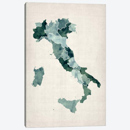 Watercolor Map of Italy Canvas Print #12856} by Michael Tompsett Art Print