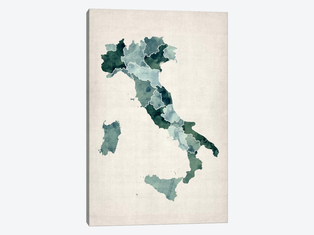 Watercolor Map of Italy by Michael Tompsett 1-piece Canvas Wall Art