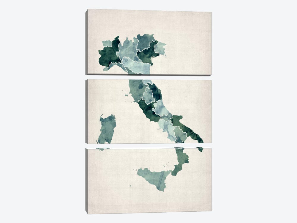 Watercolor Map of Italy by Michael Tompsett 3-piece Canvas Wall Art