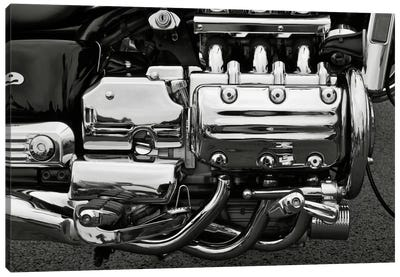 Motorcycle Engine Grayscale Canvas Art Print