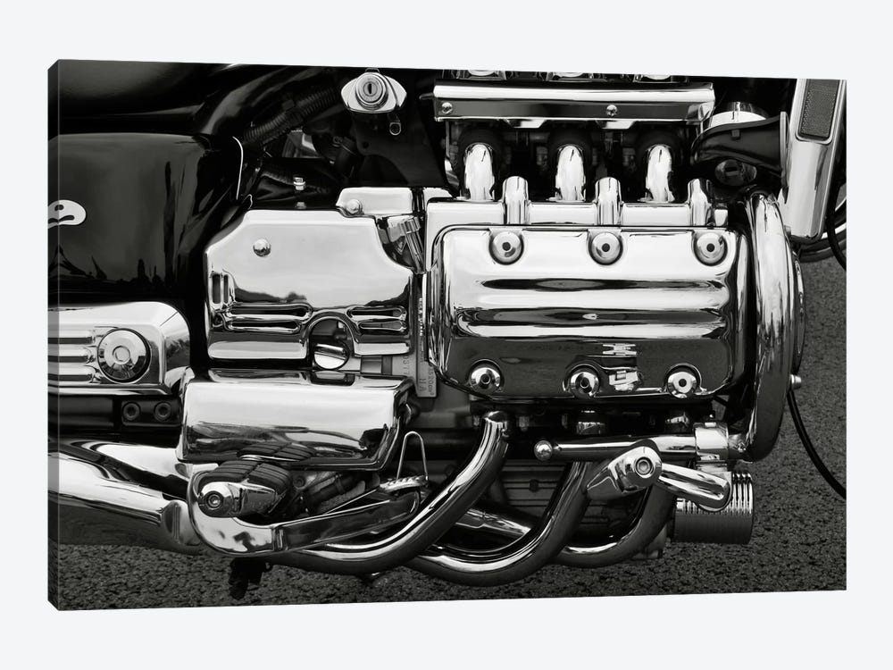 Motorcycle Engine Grayscale by Unknown Artist 1-piece Canvas Art