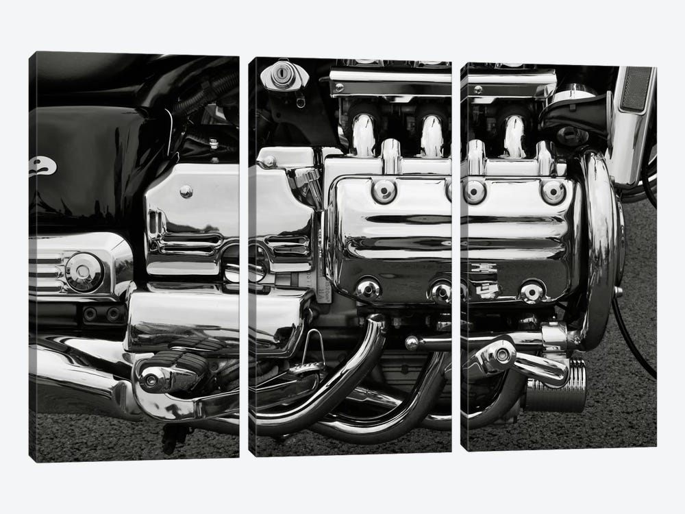 Motorcycle Engine Grayscale by Unknown Artist 3-piece Canvas Art