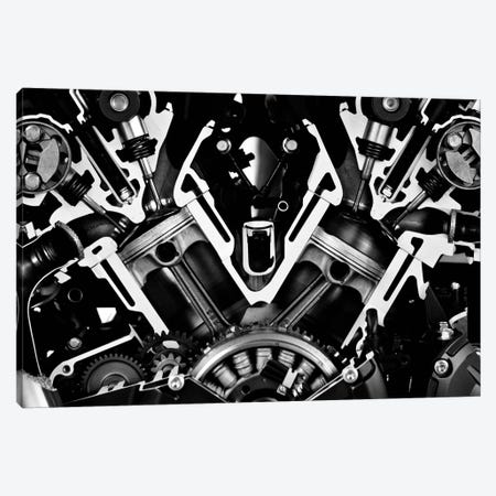Car Engine Front Grayscale Canvas Print #12862} Canvas Print