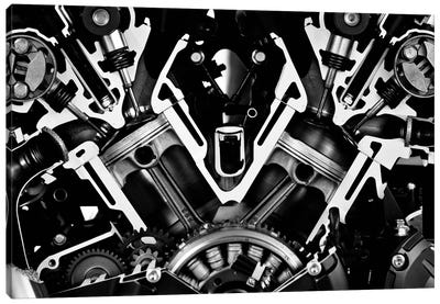 Car Engine Front Grayscale Canvas Art Print