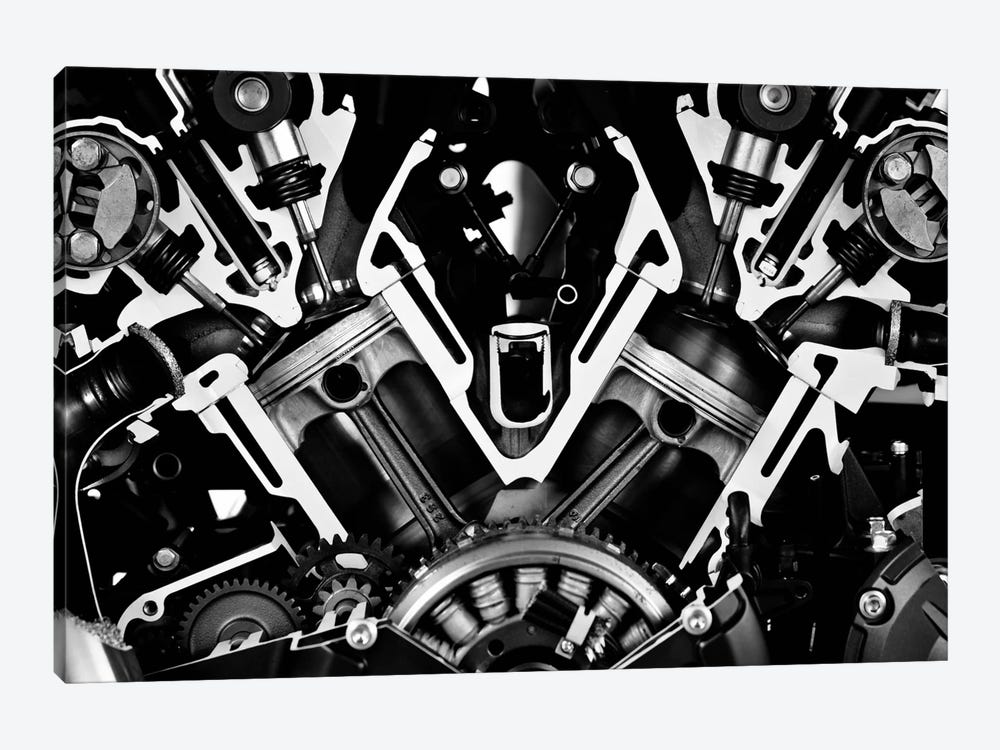 Car Engine Front Grayscale by Unknown Artist 1-piece Canvas Print